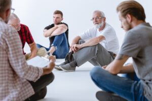 During group psychotherapy men discover their hopes, fears, losses, frustrations, and traumas